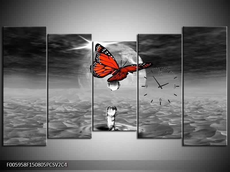 Klok schilderij Vlinder | Rood, Grijs, Wit | 150x80cm 5Luik