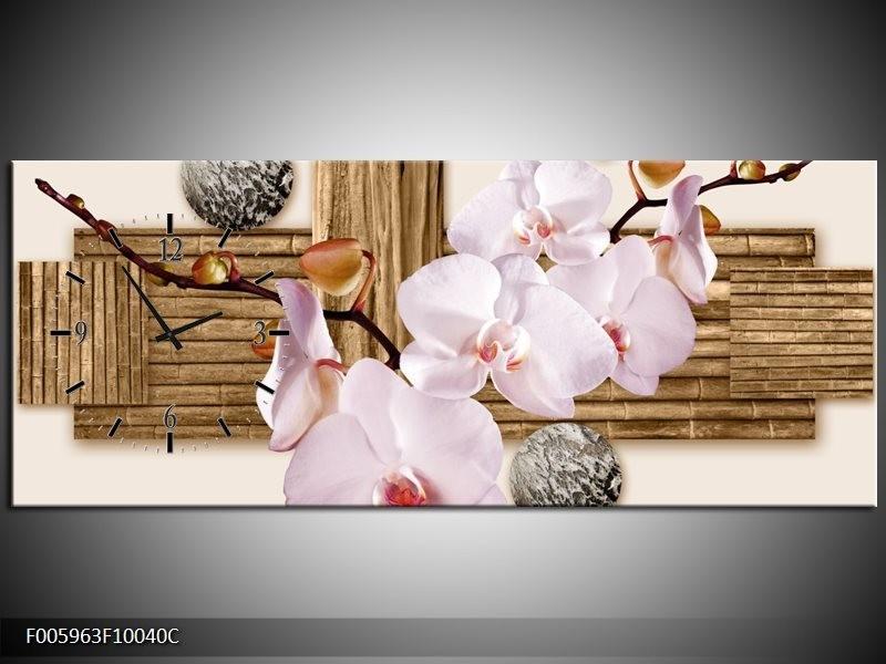 Klok schilderij Orchidee | Roze, Grijs, Bruin | 100x40cm 1Luik