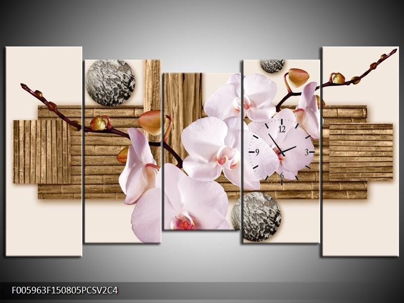 Klok schilderij Orchidee | Roze, Grijs, Bruin | 150x80cm 5Luik