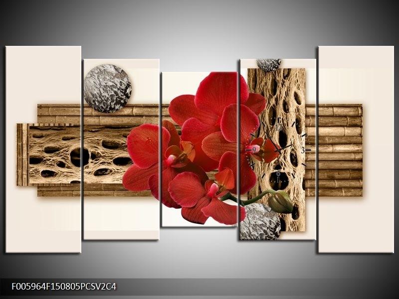 Klok schilderij Orchidee | Rood, Bruin, Wit | 150x80cm 5Luik
