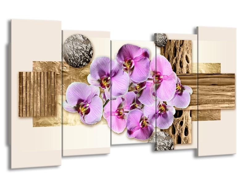Glas schilderij Orchidee | Roze, Wit, Bruin | 150x80cm 5Luik