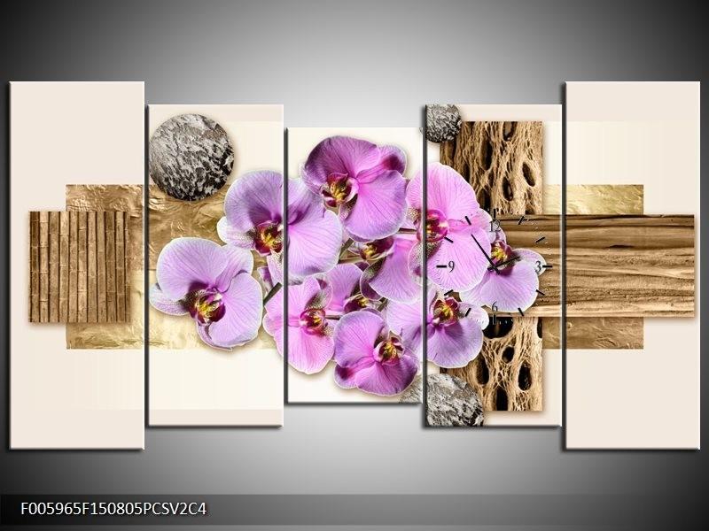 Klok schilderij Orchidee | Roze, Wit, Bruin | 150x80cm 5Luik