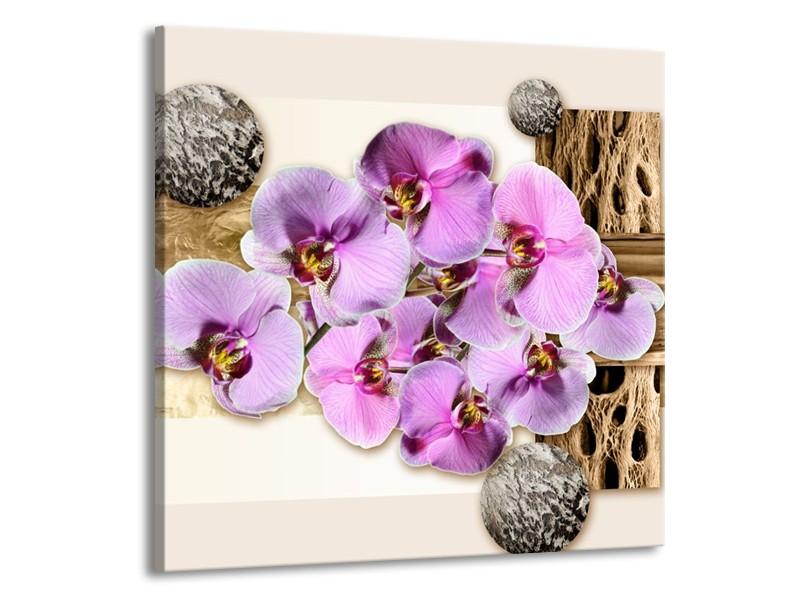 Glas schilderij Orchidee | Roze, Wit, Bruin | 50x50cm 1Luik