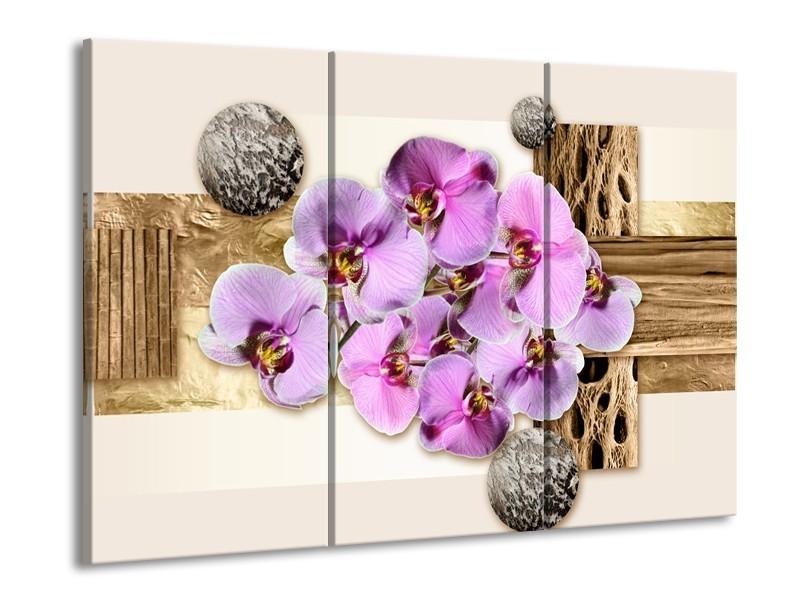 Glas schilderij Orchidee | Roze, Wit, Bruin | 90x60cm 3Luik