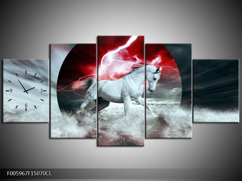 Klok schilderij Paard | Rood, Grijs, Wit | 150x70cm 5Luik
