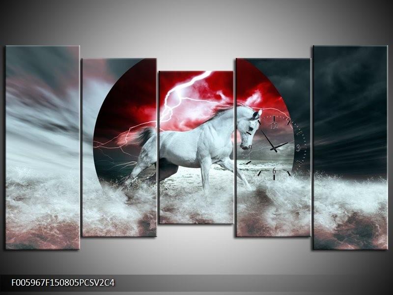 Klok schilderij Paard   Rood, Grijs, Wit   150x80cm 5Luik