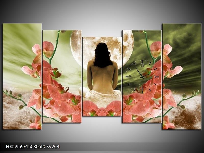 Klok schilderij Orchidee | Roze, Groen, Wit | 150x80cm 5Luik
