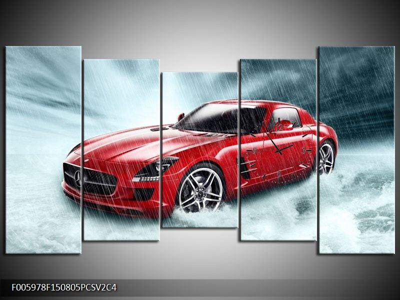 Klok schilderij Mercedes | Wit, Rood, Zwart | 150x80cm 5Luik
