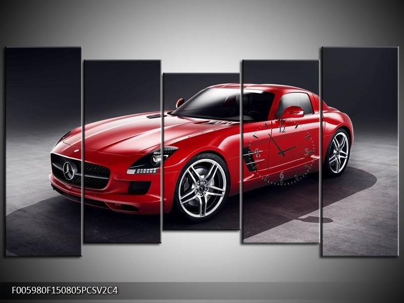 Klok schilderij Mercedes | Rood, Zwart | 150x80cm 5Luik