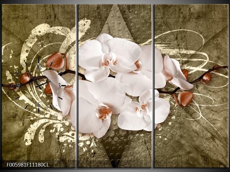 Klok schilderij Orchidee   Goud, Wit, Bruin   111x80cm 3Luik