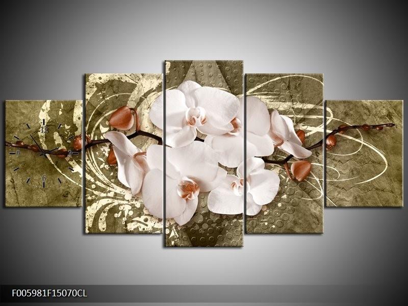 Klok schilderij Orchidee   Goud, Wit, Bruin   150x70cm 5Luik