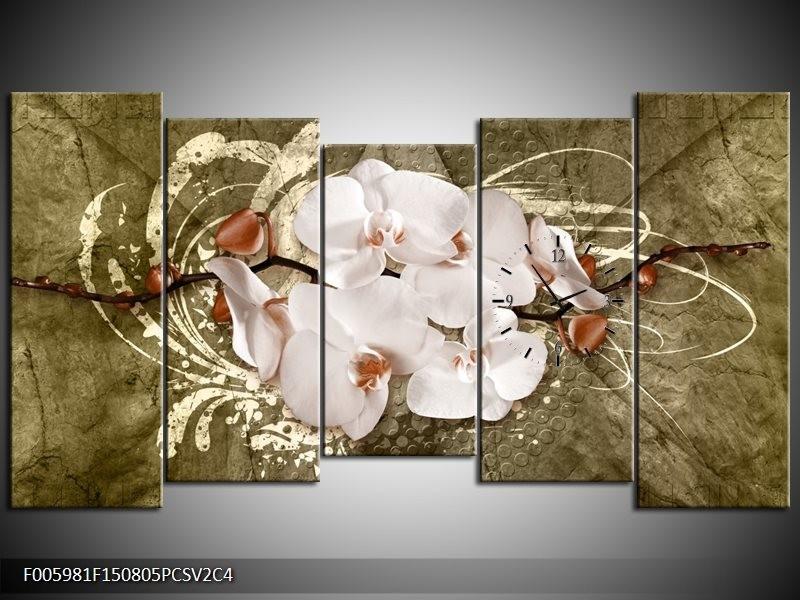 Klok schilderij Orchidee | Goud, Wit, Bruin | 150x80cm 5Luik