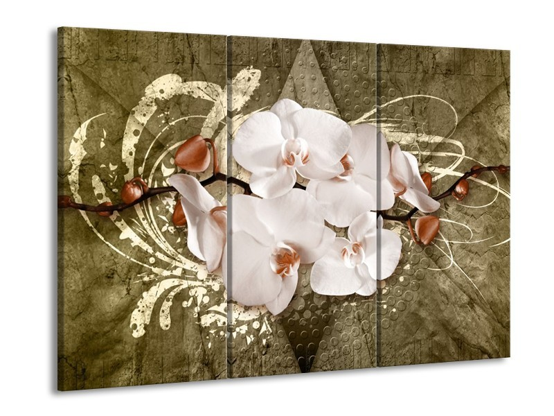 Glas schilderij Orchidee | Goud, Wit, Bruin | 90x60cm 3Luik