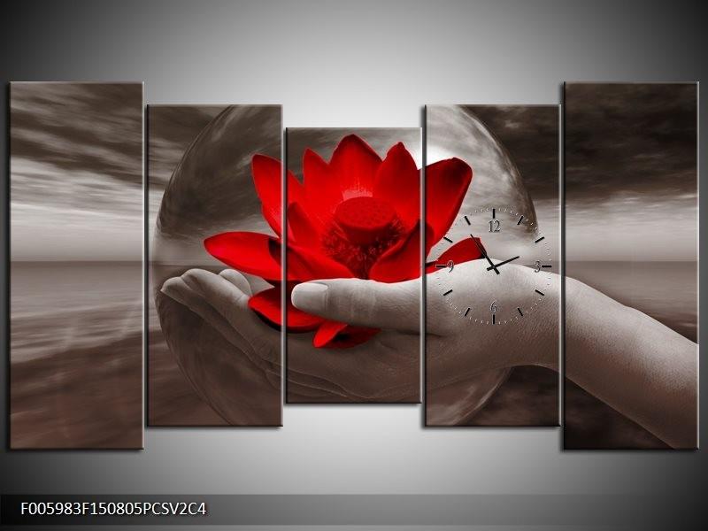 Klok schilderij Bloem | Rood, Sepia, Grijs | 150x80cm 5Luik