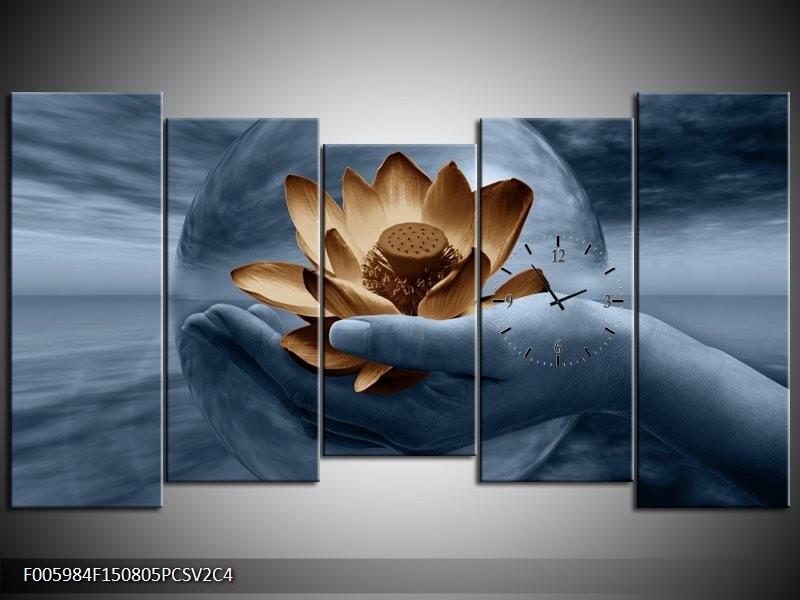 Klok schilderij Bloem | Grijs, Blauw, Bruin | 150x80cm 5Luik