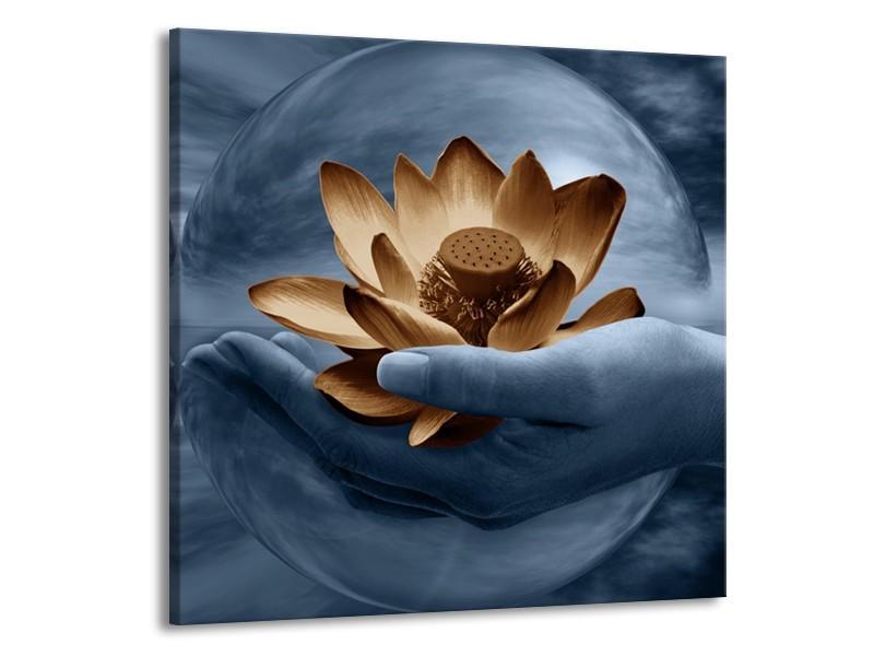 Canvas schilderij Bloem   Grijs, Blauw, Bruin   70x70cm 1Luik