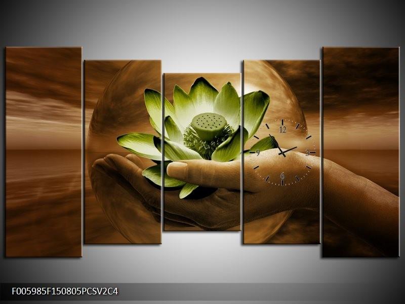 Klok schilderij Bloem   Groen, Bruin   150x80cm 5Luik
