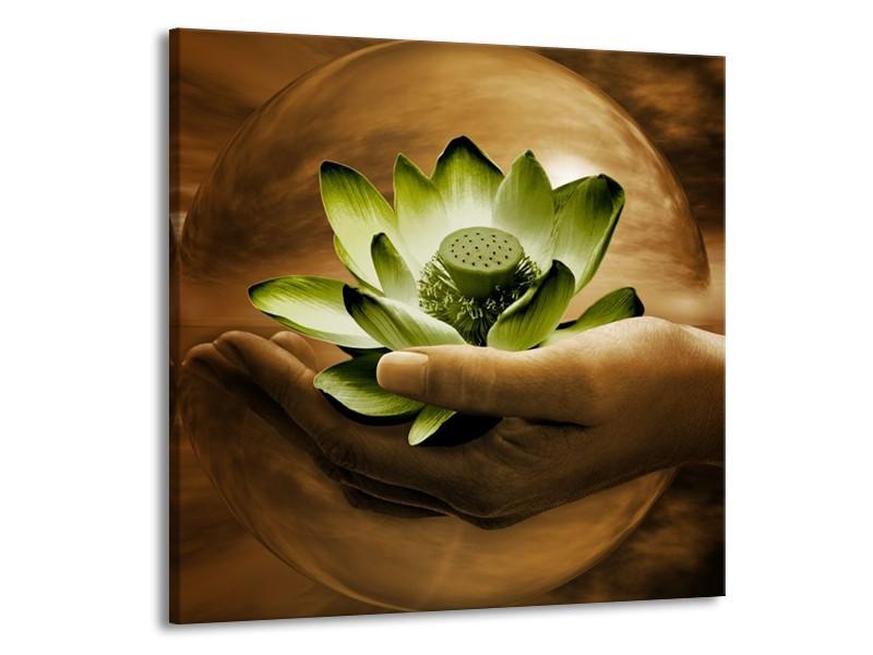 Canvas schilderij Bloem | Groen, Bruin | 70x70cm 1Luik