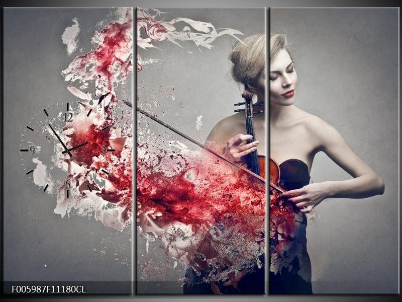 Klok schilderij Muziek | Rood, Grijs | 111x80cm 3Luik
