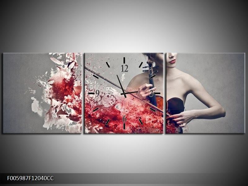 Klok schilderij Muziek | Rood, Grijs | 120x40cm 3Luik