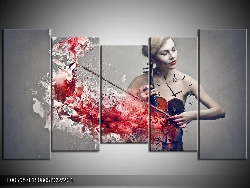 Klok schilderij Muziek | Rood, Grijs | 150x80cm 5Luik