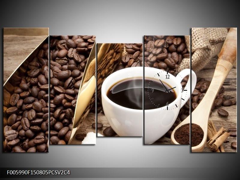 Klok schilderij Koffie | Bruin, Wit, Goud | 150x80cm 5Luik
