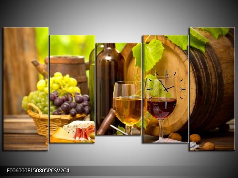 Klok schilderij Wijn | Groen, Bruin | 150x80cm 5Luik