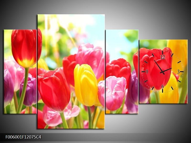 Klok schilderij Tulpen   Rood, Geel, Paars   120x75cm 4Luik
