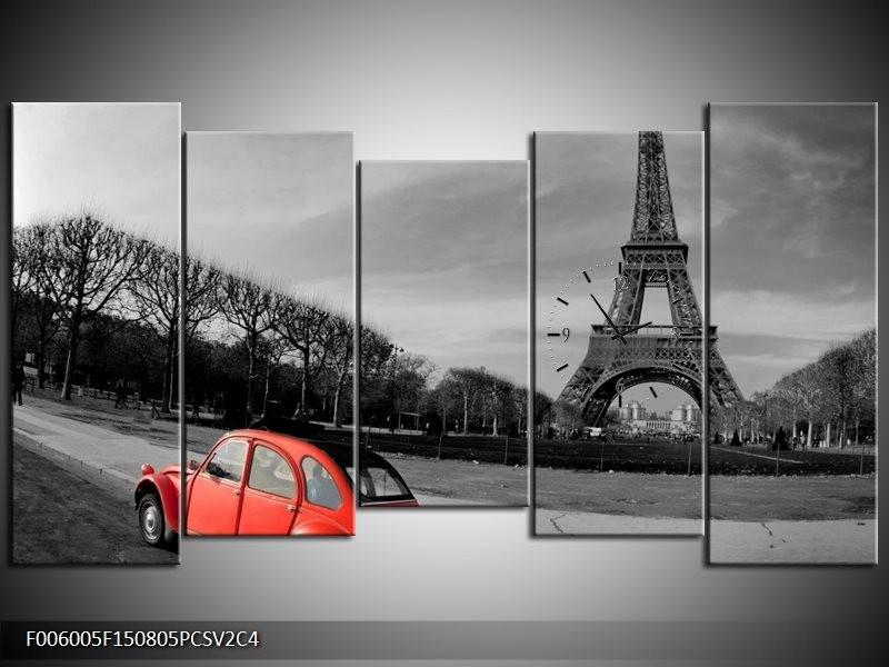 Klok schilderij Parijs | Grijs, Rood | 150x80cm 5Luik