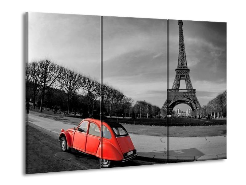 Canvas schilderij Parijs | Grijs, Rood | 90x60cm 3Luik