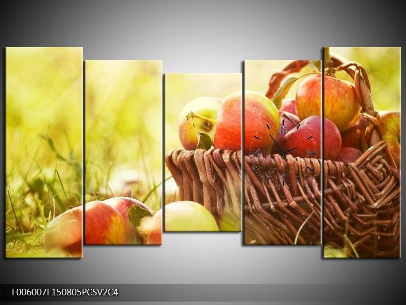 Klok schilderij Appels | Groen, Rood, Bruin | 150x80cm 5Luik