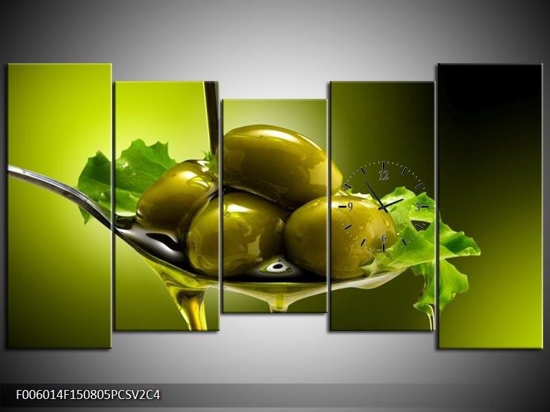 Klok schilderij Olijven | Groen | 150x80cm 5Luik