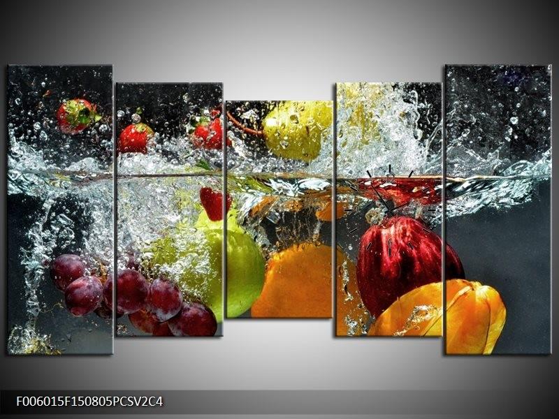 Klok schilderij Fruit | Grijs, Oranje | 150x80cm 5Luik