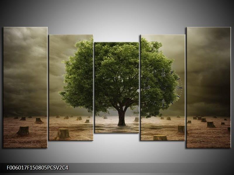 Klok schilderij Boom | Groen, Grijs, Bruin | 150x80cm 5Luik