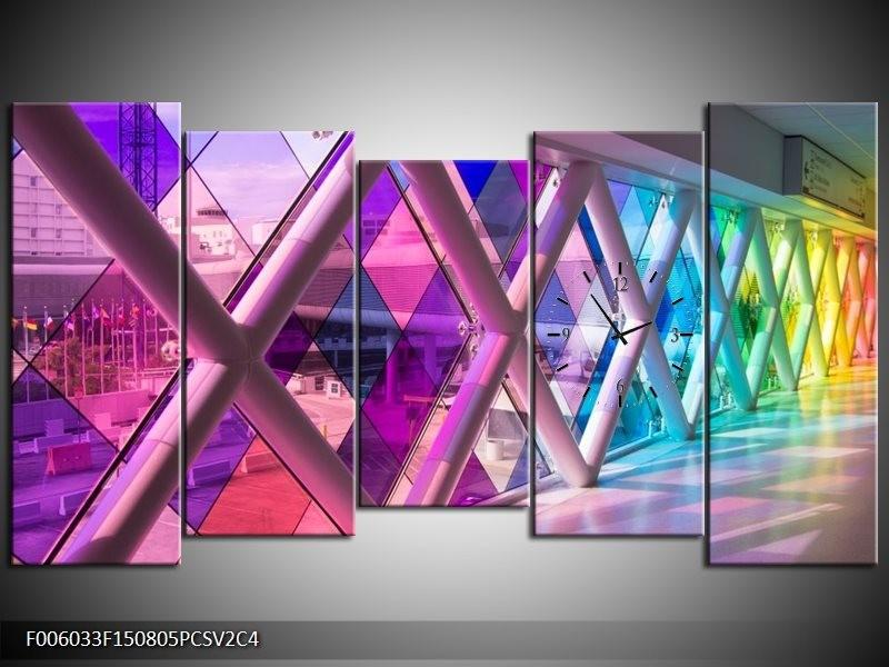 Klok schilderij Modern | Paars, Roze, Geel | 150x80cm 5Luik