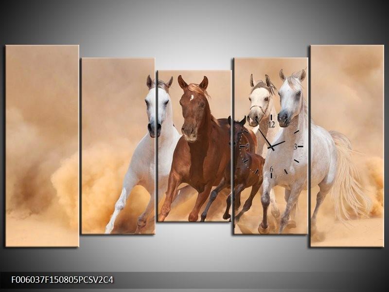 Klok schilderij Paard | Bruin, Wit, Crème | 150x80cm 5Luik