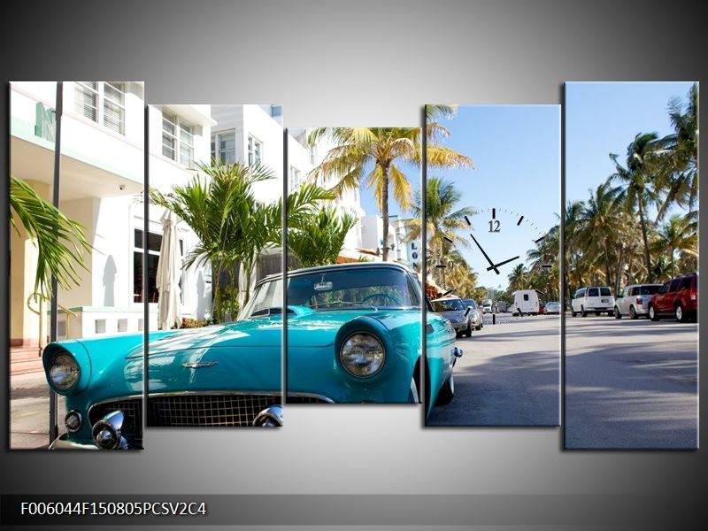 Klok schilderij California | Groen, Blauw, Wit | 150x80cm 5Luik