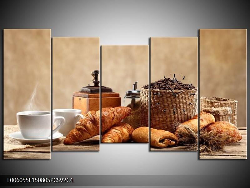Klok schilderij Ontbijt | Bruin, Crème | 150x80cm 5Luik