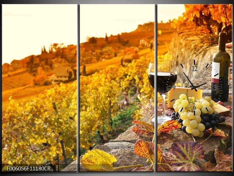 Klok schilderij Frankrijk | Bruin, Oranje | 111x80cm 3Luik
