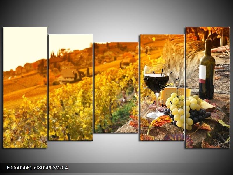 Klok schilderij Frankrijk | Bruin, Oranje | 150x80cm 5Luik