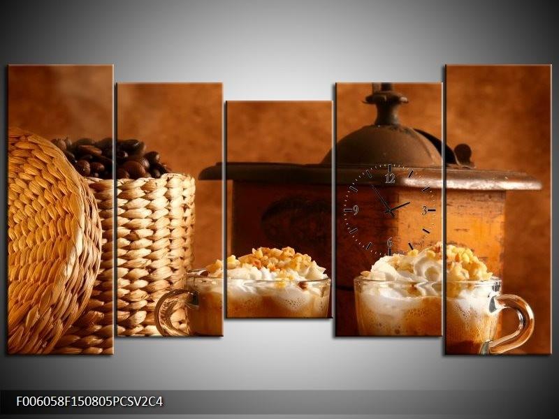 Klok schilderij Koffie | Bruin | 150x80cm 5Luik