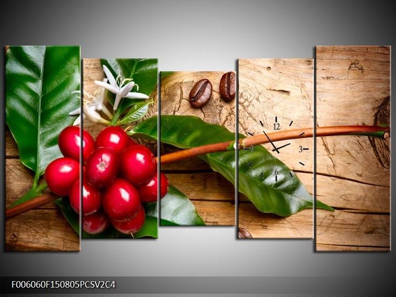 Klok schilderij Keuken | Rood, Groen, Bruin | 150x80cm 5Luik