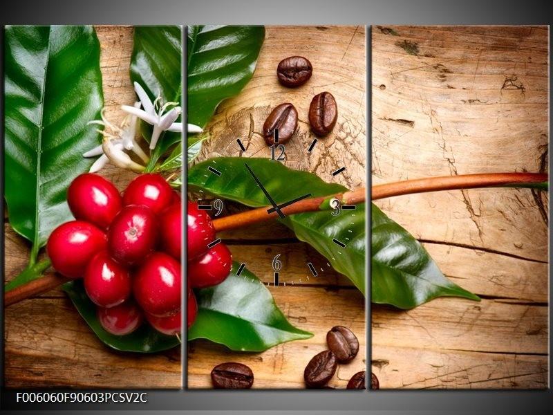 Klok schilderij Keuken | Rood, Groen, Bruin | 90x60cm 3Luik