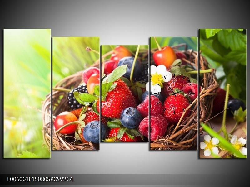 Klok schilderij Fruit | Groen, Rood | 150x80cm 5Luik