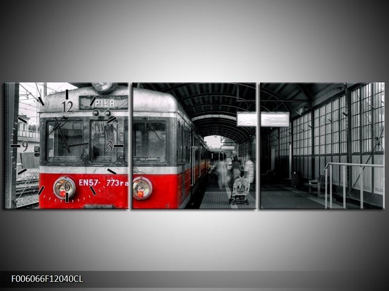 Klok schilderij Trein | Rood, Grijs | 120x40cm 3Luik