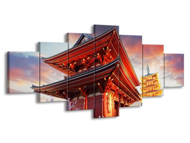 Canvas schilderij China | Rood, Grijs, Oranje | 210x100cm 7Luik