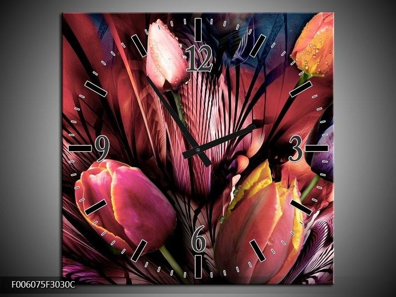 Klok schilderij Tulpen   Roze, Paars   30x30cm 1Luik