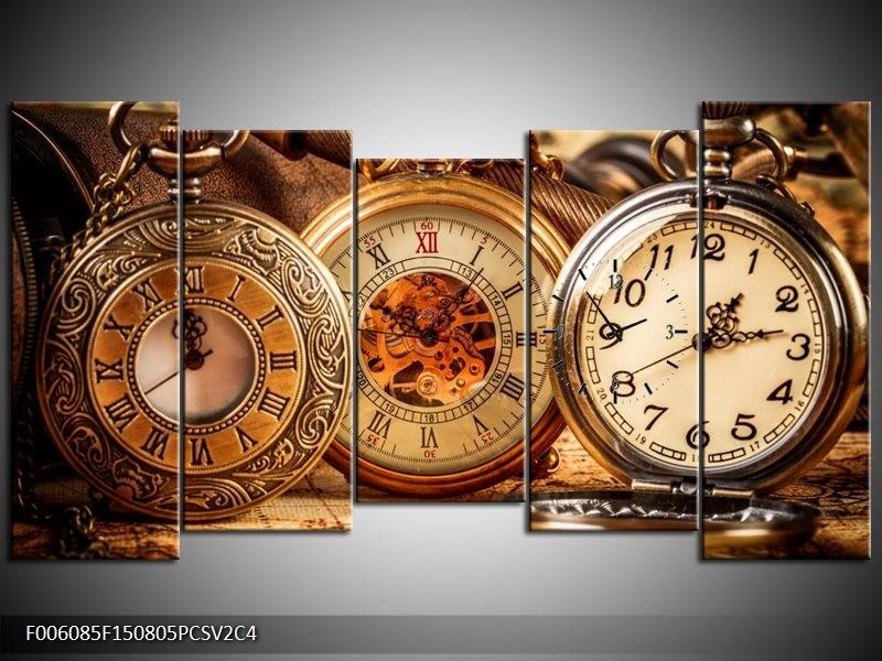 Klok schilderij Klok | Bruin, Crème, Oranje | 150x80cm 5Luik