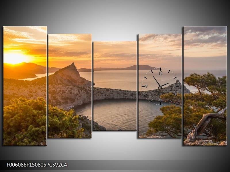 Klok schilderij Natuur | Geel, Bruin, Grijs | 150x80cm 5Luik