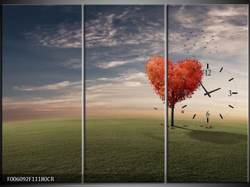 Klok schilderij Natuur | Oranje, Groen, Grijs | 111x80cm 3Luik
